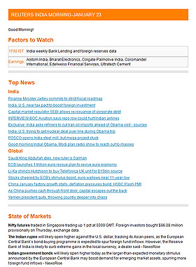 India Morning Newsletter Sample